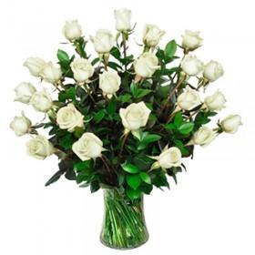Flores Condolencias Florero 30 Rosas Blancas