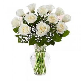 Flores Condolencias Florero 12 Rosas Blancas