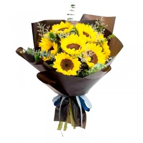 Ramo de 10 Girasoles más flores de Rustico Eucalipto