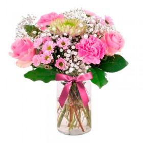 Florero Rústico con Claveles Rosados 6 Rosas rosadas Astromelias Limonios y Flores Silvestres