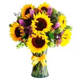 Florero Con 10 Girasoles más flores Moradas