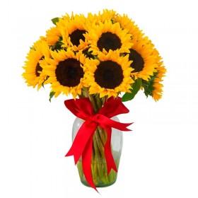 Florero con 15 Girasoles Mas Flores Mix