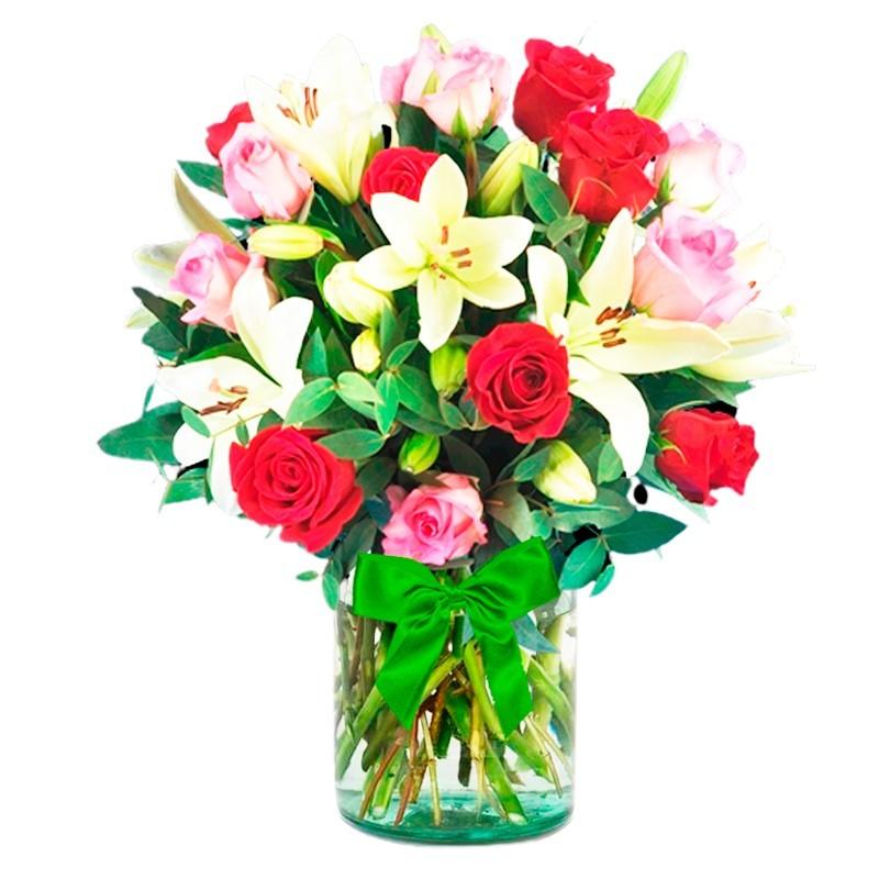 Florero de 24 Rosas Rojas y Rosadas y 10 Liliums blancos más flores mix